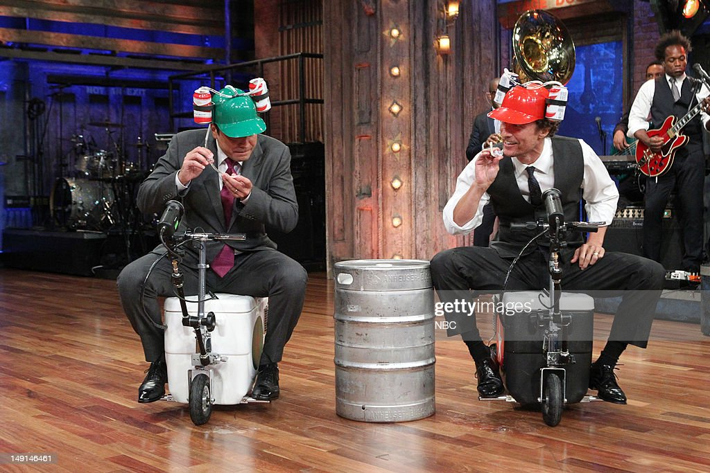 Host Jimmy Fallon races with actor Matthew McConaughey on July 24, 2012 --