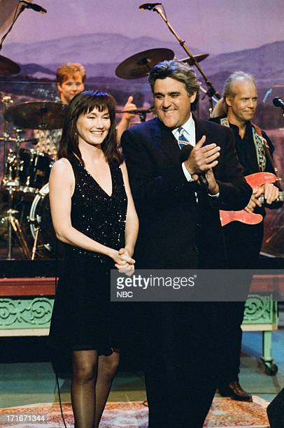 Musical guest Lari White and host Jay Leno on April 25 1995