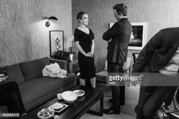 MEYERS Episode 679 Pictured Comedian Kathy Griffin talks with host Seth Meyers backstage on May 1 2018