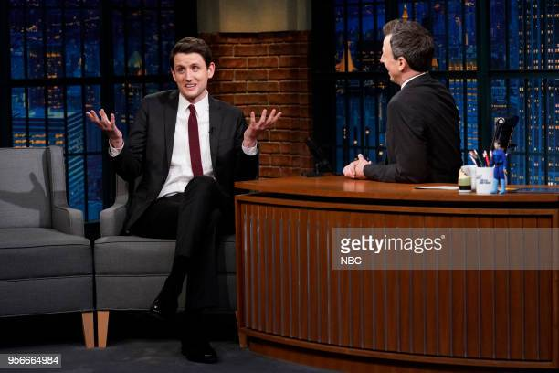 Actor Zach Woods during an interview with host Seth Meyers on May 9 2018
