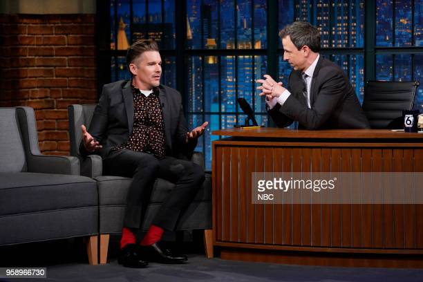 Actor Ethan Hawke during an interview with host Seth Meyers on May 15 2018