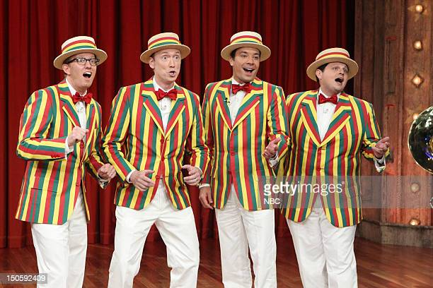 AD Miles Tom Shillue Jimmy Fallon Chris Tartaro perform during a skit on August 22 2012
