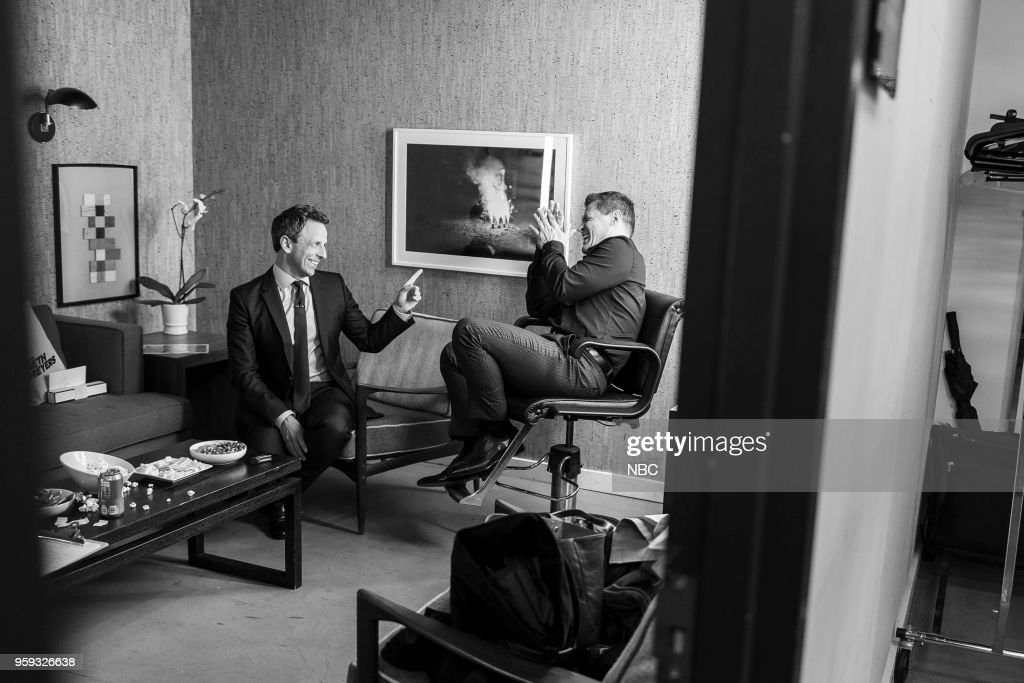 MEYERS -- (EXCLUSIVE COVERAGE) -- Episode 688 -- Pictured: (l-r) Host Seth Meyers talks with actor Josh Brolin backstage on May 16, 2018 --