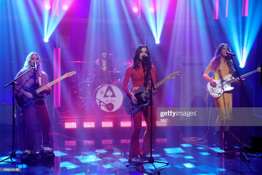 Katie Henderson, Cristal Ramirez and Mckenna Petty of musical guest 'The Aces' perform on May 16, 2018 --