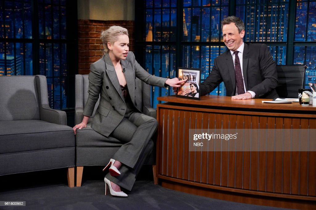 Actress Emilia Clarke during an interview with host Seth Meyers on May 22, 2018 --