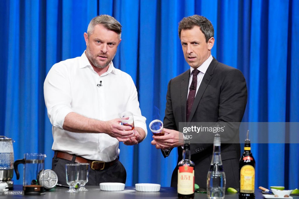 Author Jeffrey Morgenthaler makes a cocktail with host Seth Meyers on May 22, 2018 --