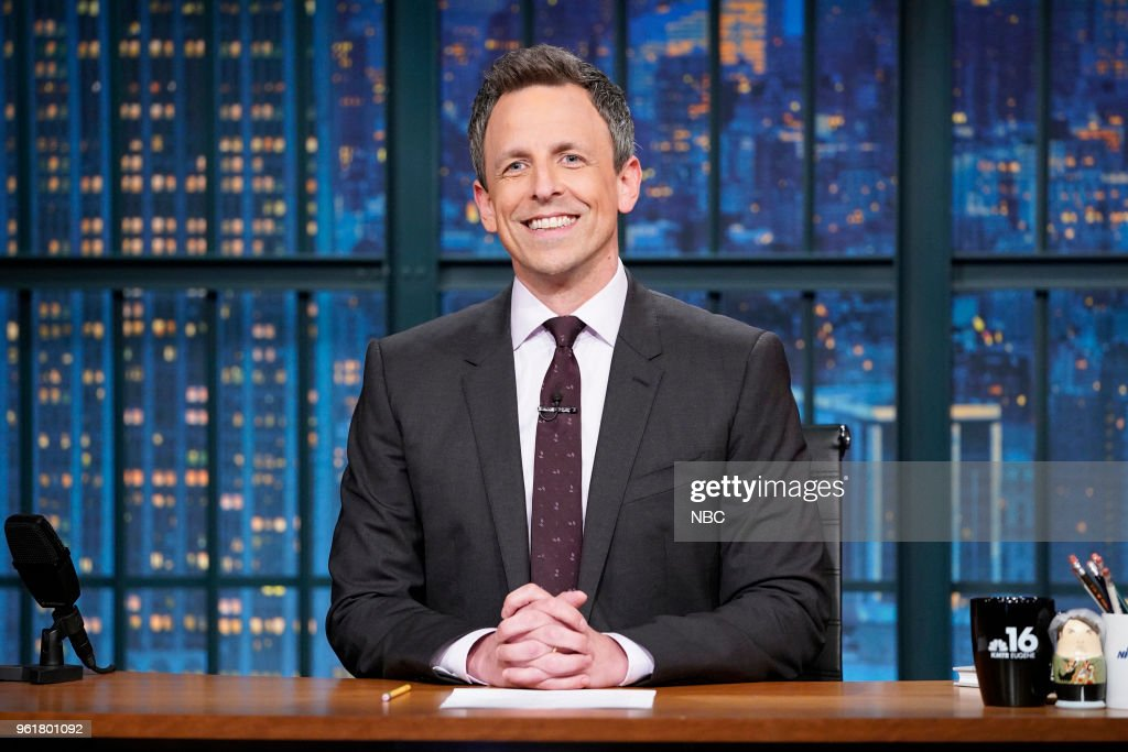 Host Seth Meyers at his desk on May 22, 2018 --