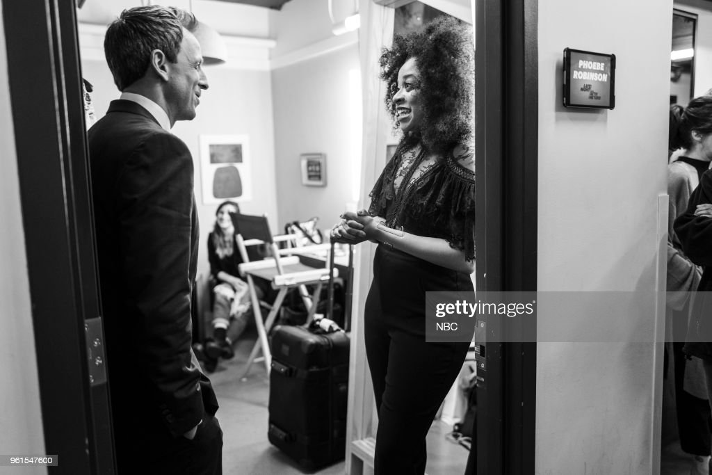 MEYERS -- (EXCLUSIVE COVERAGE) -- Episode 691 -- Pictured: (l-r) Host Seth Meyers talks with comedian Phoebe Robinson backstage on May 22, 2018 --