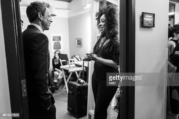 MEYERS Episode 691 Pictured Host Seth Meyers talks with comedian Phoebe Robinson backstage on May 22 2018