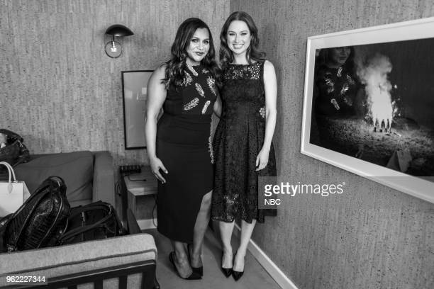MEYERS Episode 693 Pictured Actress' Mindy Kaling and Ellie Kemper backstage on May 24 2018