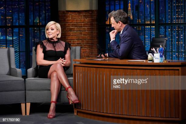 Episode 694 -- Pictured: Actress Jane Krakowski during an interview with host Seth Meyers on June 11, 2018 --
