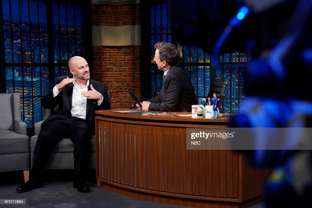 Author Tom King during an interview with host Seth Meyers on June 12, 2018 --