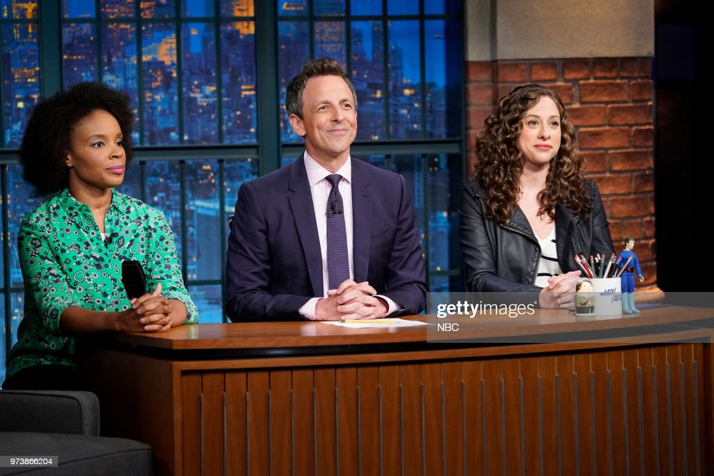 Amber Ruffin, host Seth Meyers and Jenny Hagel during 'Jokes Seth Can't Tell' sketch on June 13, 2018 --