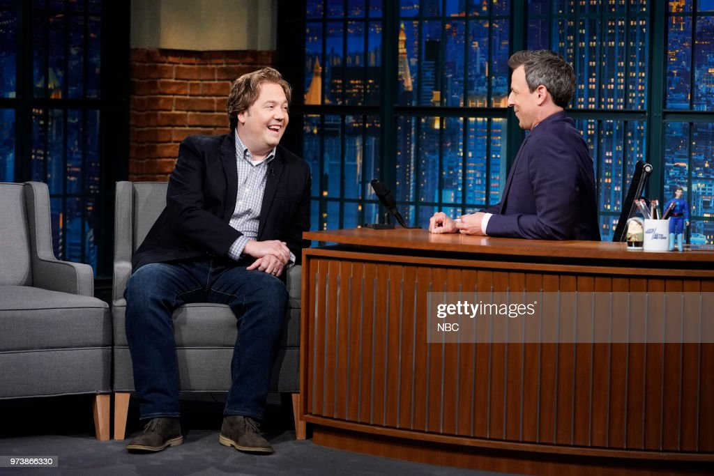 Writer Jon Lutz as clean comic 'Max Frank' during a sketch with host Seth Meyers on June 13, 2018 --