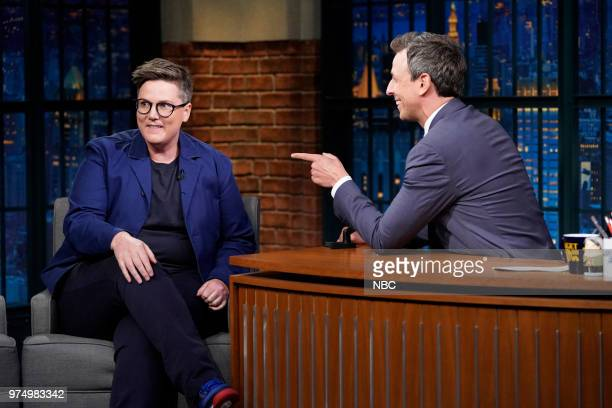 Comedian Hannah Gadsby during an interview with host Seth Meyers on June 14 2018