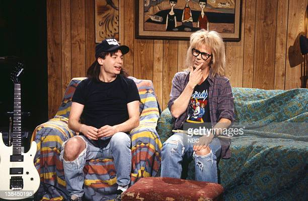 LIVE Episode 7 Air Date Pictured Mike Myers as Wayne Campbell Dana Carvey as Garth Algar during the Wayne's World skit on November 20 1993