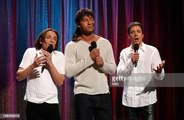 Episode 7 -- Air Date -- Pictured: Chris Kattan as Julio Iglesias Jr., Derek Jeter as Dumberto Iglesias, Jimmy Fallon as Enrique Iglesias during the...
