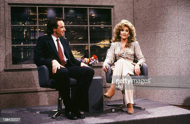 Kevin Nealon as Andy Neuwirth Jan Hooks as Jessica Hahn during the 'Sex Tonight' skit on December 3 1988