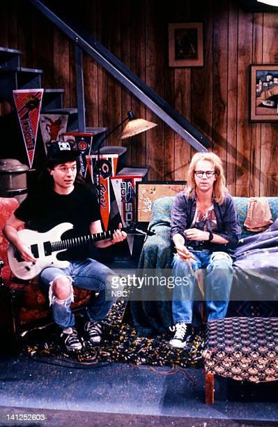 Mike Myers as Wayne Campbell Dana Carvey as Garth Algar during the 'Wayne's World' skit on December 2 1989