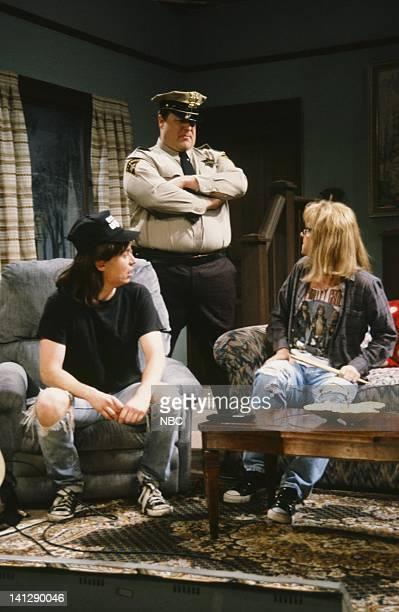 Mike Myers as Wayne Campbell John Goodman as Mark Wilson Dana Carvey as Garth Algar during Wayne's World skit on December 1 1990 Photo by Al...