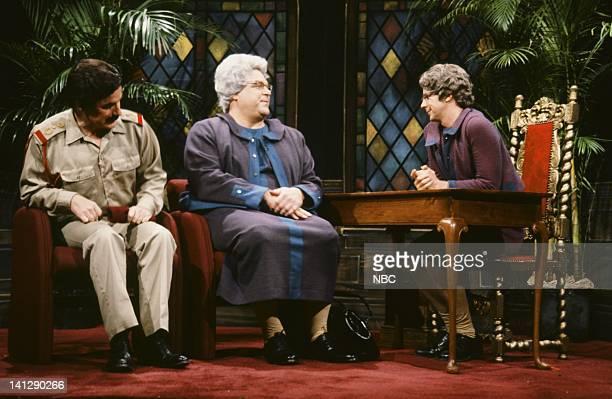 Phil Hartman as Saddam Hussein John goodman as Church Lady's mother Dana Carvey as Church Lady during Church Chat skit on December 1 1990 Photo by Al...