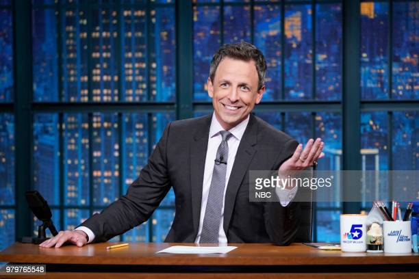 Host Seth Meyers delivers the monologue from his desk on June 20 2018