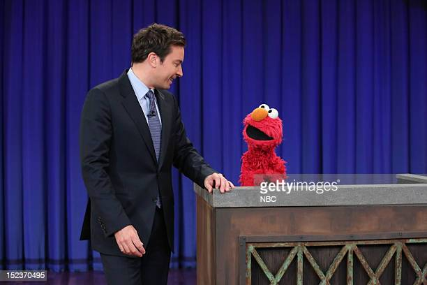 Host Jimmy Fallon during an interview with Elmo on September 19 2012