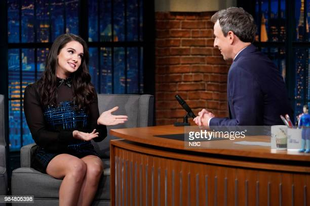 Actress Katie Stevens during an interview with host Seth Meyers on June 26 2018