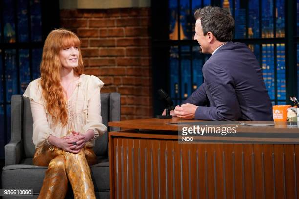 Florence Welch of Florence The Machine during an interview with host Seth Meyers on June 28 2018