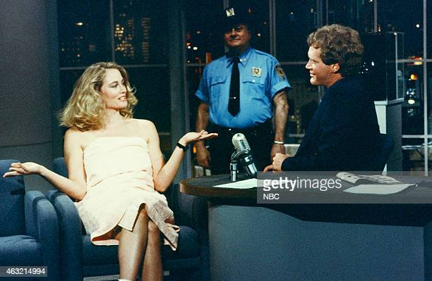 Actress Cybill Shepherd during an interview with host David Letterman on May 7 1986