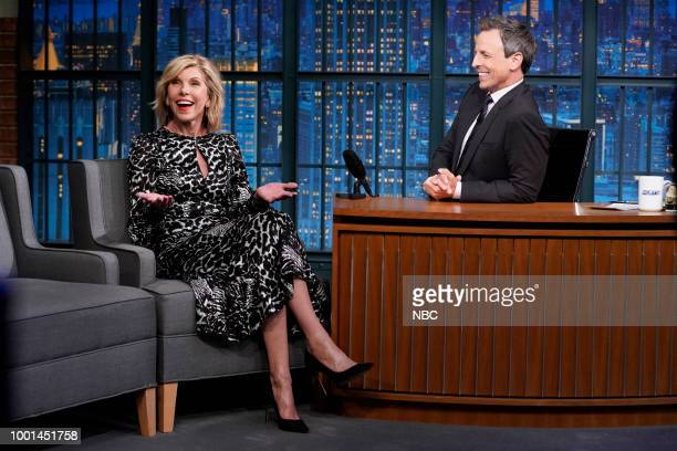 Episode 708 -- Pictured: Actress Christine Baranski during an interview with host Seth Meyers on July 18, 2018 --