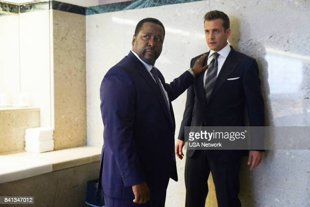 SUITS 100 Episode 708 Pictured Wendell Pierce as Robert Zane Gabriel Macht as Harvey Specter