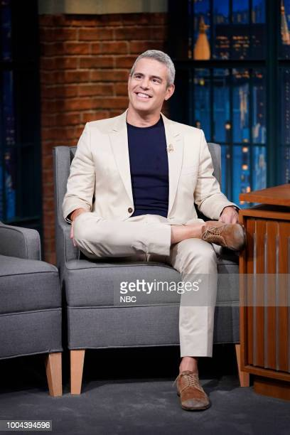 MEYERS Episode 710 Pictured Andy Cohen talks with host Seth Meyers backstage on July 23 2018