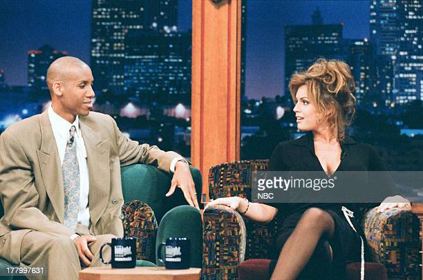 NBA player Reggie Miller Actress Sandra Taylor during an interview with host Jay Leno on June 9 1995