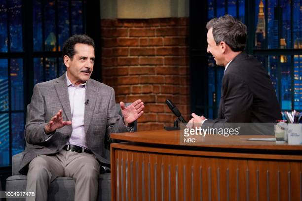 Actor Tony Shalhoub during an interview with host Seth Meyers on July 24 2018