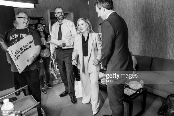 Actress Amy Poehler during an interview with host Seth Meyers on July 25 2018