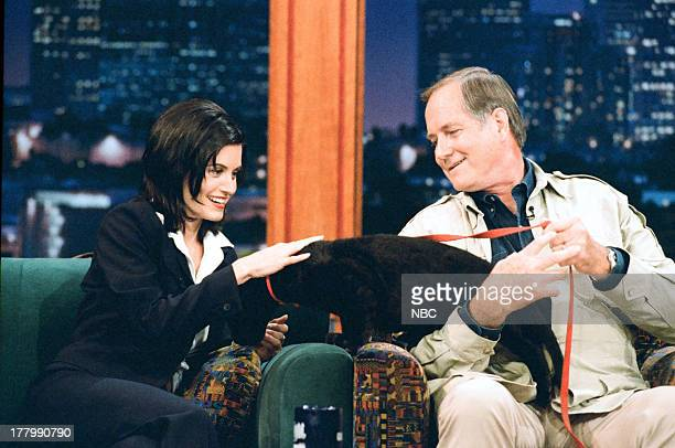 Actress Courteney Cox Zoologist Jim Fowler during an interview on June 13 1995