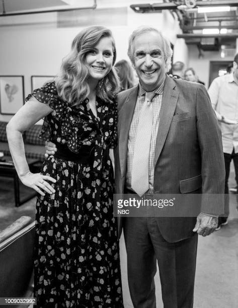 MEYERS Episode 715 Pictured Author Simon Rich and actor Henry Winkler take a selfie backstage on July 31 2018