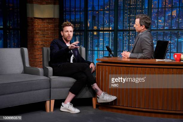 Actor Ewan McGregor during an interview with host Seth Meyers on August 2 2018
