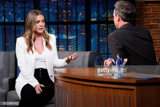 MEYERS Episode 718 Pictured Actress Alicia Silverstone talks with host Seth Meyers backstage on August 6 2018