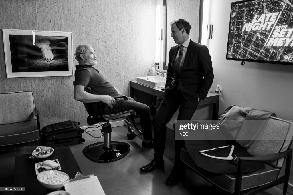 MEYERS -- (EXCLUSIVE COVERAGE) -- Episode 721 -- Pictured: (l-r) Actor Kelsey Grammer talks with host Seth Meyers backstage on August 9, 2018 --