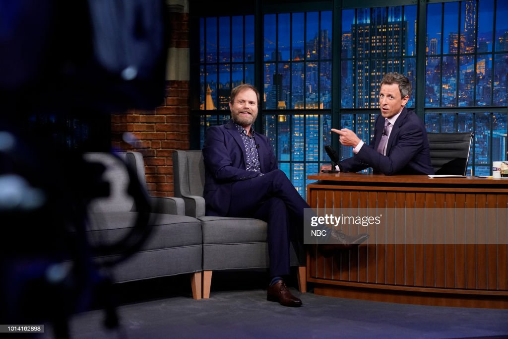 Actor Rainn Wilson during an interview with host Seth Meyers on August 9, 2018 --