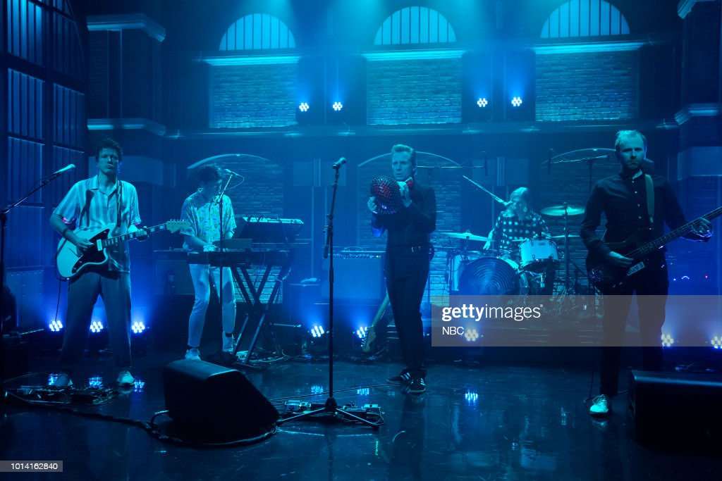 Donald Barr, Julian Corrie, Alexander Huntley, Paul Thomson and Robert Hardy of Franz Ferdinand perform on August 9, 2018 --