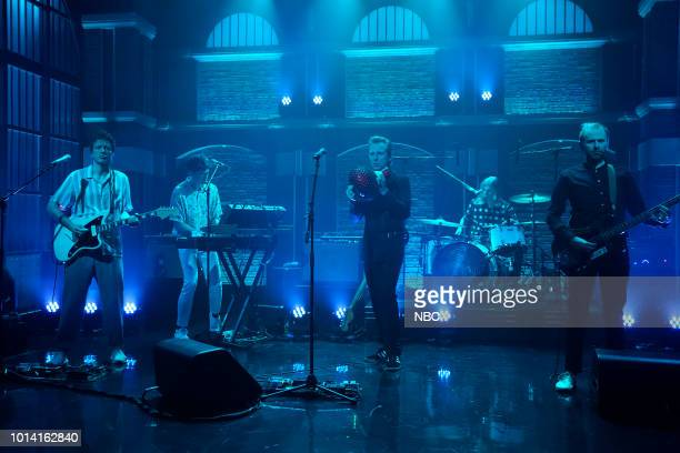 MEYERS Episode 721 Pictured Paul Thomson Donald Barr Robert Hardy Julian Corrie and Alexander Huntley of musical guest Franz Ferdinand with host Seth...