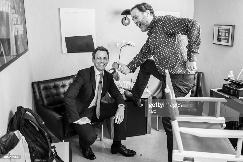 MEYERS -- (EXCLUSIVE COVERAGE) -- Episode 721 -- Pictured: (l-r) Host Seth Meyers and actor Rainn Wilson backstage on August 9, 2018 --