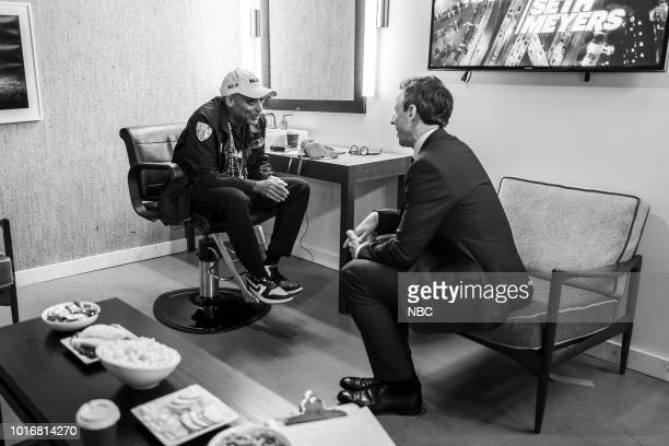 MEYERS Episode 723 Pictured Director Spike Lee talks with host Seth Meyers backstage on August 14 2018