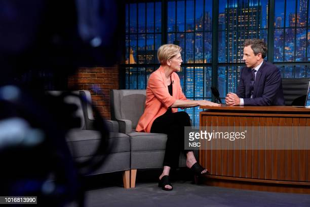 MEYERS Episode 723 Pictured Senator Elizabeth Warren and actress Rhea Seehorn pose for a picture on August 14 2018