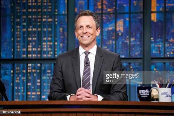 Host Seth Meyers at his desk on August 15 2018