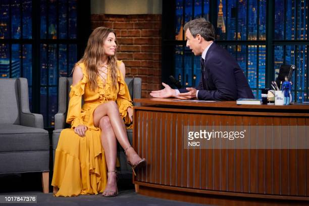 MEYERS Episode 725 Pictured Host Seth Meyers talks with actress Jessica Biel backstage on August 17 2018