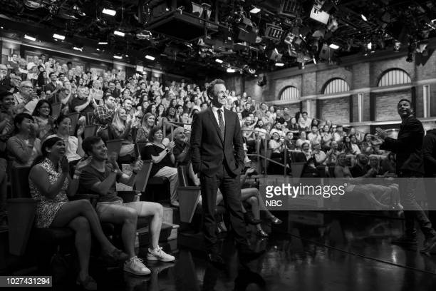 Episode 727 -- Pictured: Host Seth Meyers during a commerical break on September 5, 2018 --